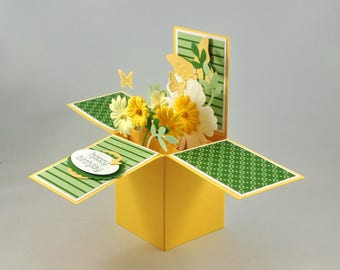 Birthday Greeting Card, Happy Birthday, For Her, Card-in-a-box, Box Card, Green, Yellow, White, Flowers, Leaves, Butterflies, Stripes