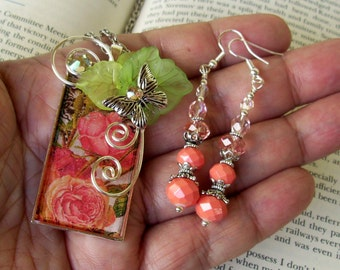 Jewelry Set (S700) Necklace and Earrings, Garden Rose Graphic Under Resin Pendant, Butterfly, Crystal Dangles, Silver, Peach and Green