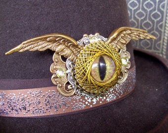 Dramatic Dragon Eye Hat Adornment (P715) Brooch or Pin, Hand Painted Glass Eye, Brass Framework and Wings, Swarovski Crystals, Tack Pins