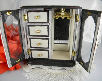 Jewelry Box Armoire - Vintage Jewelry Organizer Black and Beige Painted - One Of  A Kind - 4 drawers with Necklace Carousel
