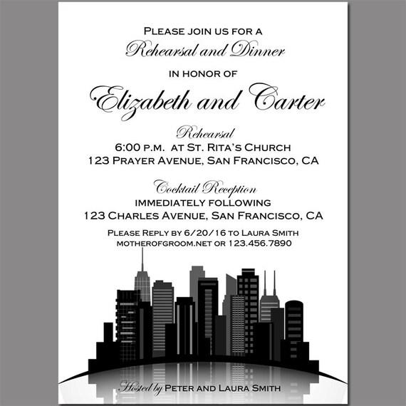 Chicago Skyline Invitation Printable Or Printed W/ FREE