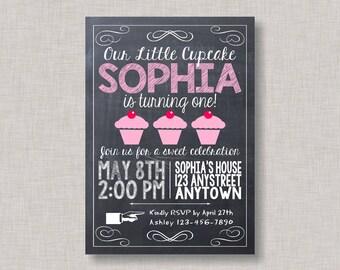 Cupcake Invitation, Cupcake Birthday Invitation, Cupcake Party, Little Cupcake Invitation, Little Cupcake Birthday, Chalkboard, Printable
