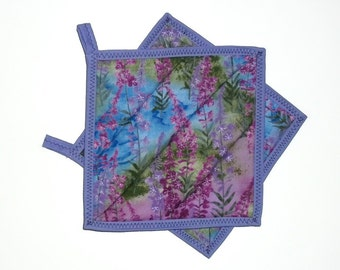 Quilted Pot Holders, Fireweed Pot Holders, Fireweed Decor, Summer Decor, Kitchen Decor, Purple Lavender, Hot Pads, Cottage Chic, Set of 2