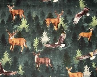 Wildlife Fabric, Deer Fabric, 3/4 Yard, Quilting Sewing Fabric, Nature Fabric, Woodland Fabric, Eagle Fabric, Cotton Fabric, Buck Fabric