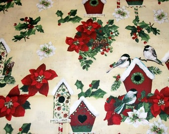 Christmas Fabric, By The Yard, Clothworks Fabric, Home For The Holidays, Sewing Crafting Fabric, Novelty Fabric, Quilting Fabric, Birdhouses