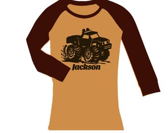 Monster Truck Shirt -  cropped/long sleeves fitted raglan shirt - any name -  pick your colors!