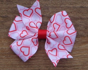 Valentine's Day Hair Bow~Bows for Valentines~Valentine's Day Bow~Red/White Hair Bow~ Small Hair Bow~Boutique Hair Bow~Pinwheel Hair Bow
