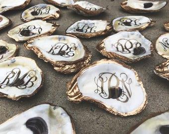 Gold leaf oyster ring dish, Jewelry Holder, DIY Beach wedding, salt well, Trinket holder, Nautical wedding, Bridesmaid gift, Monogram dish