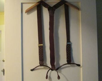Vintage Suspenders Y Back Leather Trim Button End England Maroon Gold