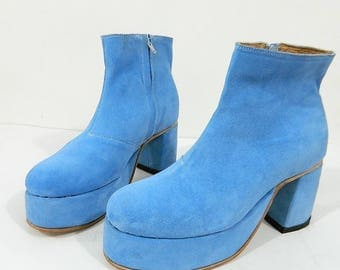 Made to order Blue suede platform boots made to your size other colors availables