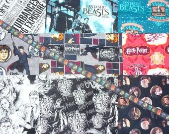 Harry Potter and Fantastic Beasts Fabrics, 9 Fat Quarters, Digital, Yard of Ribbon, Wizard Newspaper, HP Logo, Harry Collage, Black & White