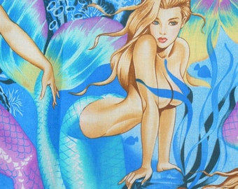 Sea Sirens, Alexander Henry, Mermaids Fabric, Over Sized Mermaids, Blue Background, By the Yard