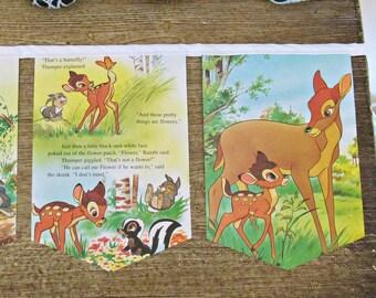 Bambi Bunting Children Book Banner. Garland Woodland Nursery Decor Photography Prop. White Domum Vindemia Deer Forest Animal Thumper Disney