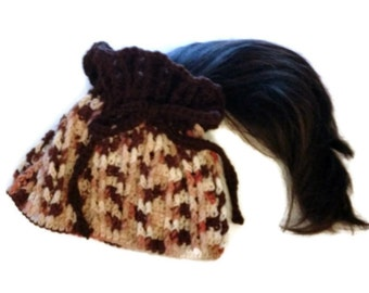 Ponytail Hat Cowl in Brown Tones Handmade Convertible Hat Dreadlock Band Crocheted