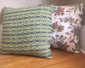 Squares and Floral Pillows, set of 2