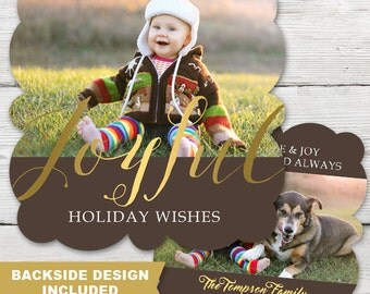 Joyful Ornament Holiday Photo Card, Printed Christmas Ornament Photo Cards, Diecut Holiday Photo Card, Printed Holiday Ornament Cards