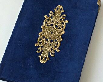 Blue velvet notebook - A6 notebook - Handmade notebook - Hardback journal - Unlined pages - Notebook journal