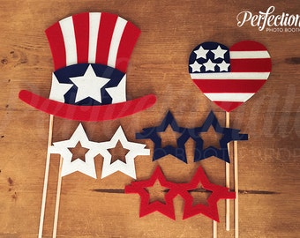 4th of July Photo Props | American Flag Heart | Patriotic Photo Booth Prop | Fourth of July Props | Patriotic Props