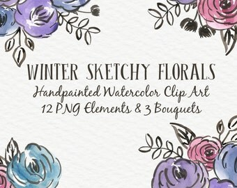 Sketchy Blooms Floral Abstract Watercolor Floral Clip Art Digital Handpainted Roses Blooms PNG Wedding Invitation Small Commercial Use OK