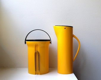 Mod Yellow Executive Bar Set Ice Bucket Pitcher Tongs Mikasa Modernist Japan NIB