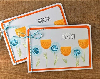 Scandinavian Print Thank You Cards Set of 2, Modern Floral Thank You Notes Set, Christmas Thank You Notes, Spring Thank You