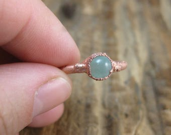 Little Green Ring // Copper Electroformed Aventurine Stone Ring // Raw Copper // Earthy // Organic