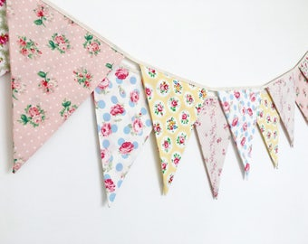 Sweet Pastel Shabby Chic Fabric Banners, Bunting, Garland, Wedding Bunting, Flags - 3 yards