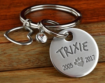 Engraved Pet Memorial Keychain Gift, Pet Loss Keychain, Pet Mom, Pet Lover Gift, Pet Remembrance, Heart Keychain, Pawprint Charm,Made in USA