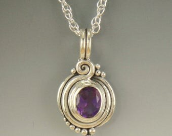 P632- Sterling Silver African Amethyst Pendant- One of a Kind