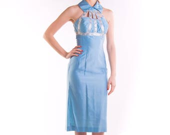 1950's Cage Neck Halter Wiggle Dress 50's Bombshell PIn Up Dress