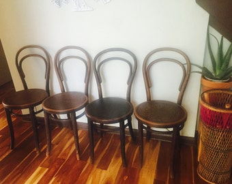 SOLD Thonet Bentwood Cafe Chairs// Antique Cafe Chairs// Thonet stools// Thonet Chairs
