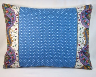 Pierre Deux Pillow Provence Pillow French Country Pillow Blue Pillow Quilted Pillow  Souleiado Border 15x20 Cover