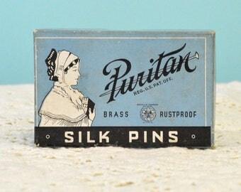 Vintage Puritan Silk Pin Box