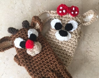 Crochet Rudolph The Red Nose Reindeer and Clarice Fingerless Gloves or Coffee Tea Cozy! PATTERN PDF ONLY
