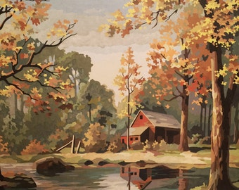 Huge Paint By Number Cabin Stream -60s Decor - Vintage  - Cottage Decor No.102 cs