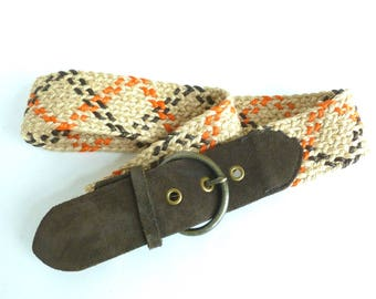 Woven Hemp Jute and Suede Belt in Natural, Orange and Chocolate Brown Women's Size Small S