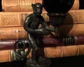 Bronze Monkey Stand with Obsidian Gazing Ball at Gothic Rose Antiques