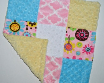 """On Sale, Sample - Minky Baby Lovey Blanket 14"""" - Yellow Pink and Turquoise, Baby Blanket Lovie, Woobie Ready to Ship Newborn"""