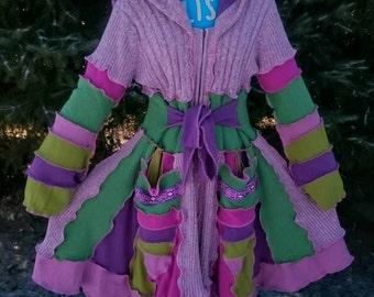 Crocus Pocus - Upcycled Wool-Free Pixie Gypsy Coat