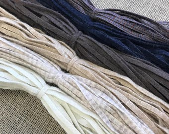 Neutrals Mix - 150 Hand Cut #6 Wool Strips for Rug Hooking