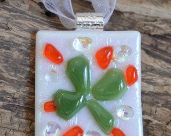 SALE! Fused Glass Shamrock Pendant with Silver Plated Bail