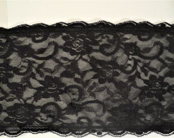 """Lace Black Non-Stretchable 5"""" Wide for Craft and Sewing Projects"""