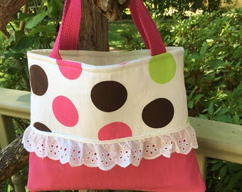 Girls poka dot and pink tote bag