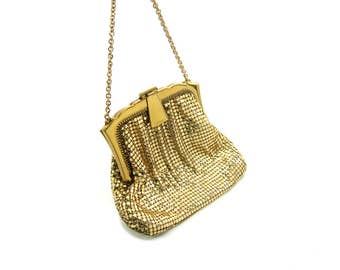Evening Bag. Gold Mesh, Whiting and Davis Purse. Art Deco Style. Special Occasion. Small Purse. Vintage 1950s Handbag. Great Condition