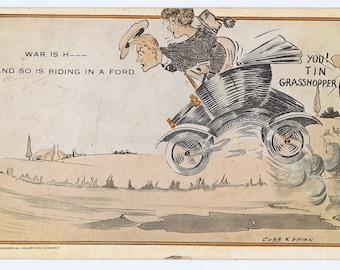 Antique Vintage Ford Motor Automobile 1916 Postcard Cobb X. Shinn Comic Humor Illustration