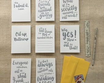 Essential Oil Mixed Set of 8 : LETTERPRESS Folded cards with box - Silver