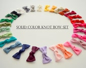 Choose 3 Mini Knot Bow Headbands - Small Knot Bow Set - Knot Bow Headbands or Clips - Set of Small Bow - Newborn Bows -Small Color Baby Bows