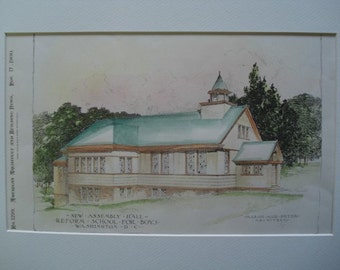 New Assembly Hall, Reform School for Boys, Washington, DC, 1900, Marsh & Peter, Architects. Hand Colored, Original Plan. Architecture