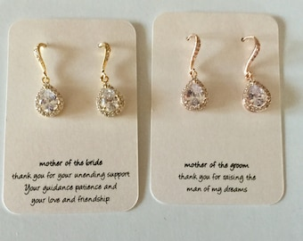 Rose gold, gold or silver earrings for mother of the bride or mother of the groom. Perfect Mother's gift