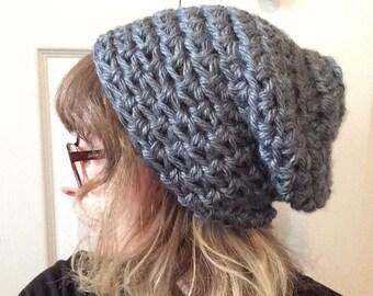 Grey Beanie / Floppy beanie / slouchy beanie / winter hat / toboggan